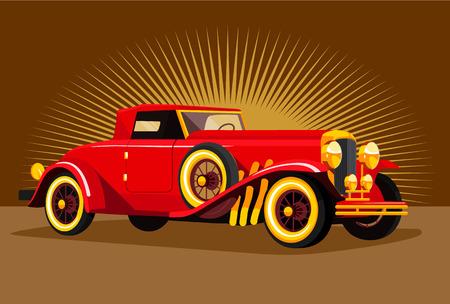tire cover: Vector retro car flat illustration Illustration