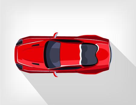 spoiler: Vector flat red sport car illustration Illustration