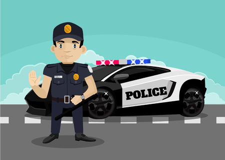 security man: Police stop vector flat illustration