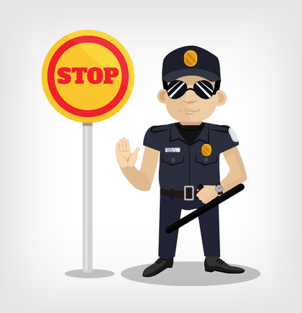 highway patrol: Policeman with stop sign. Vector flat illustration