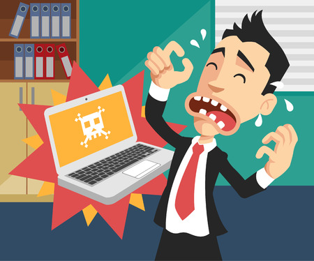 stressed businessman: Man with broken computer. Vector flat illustration