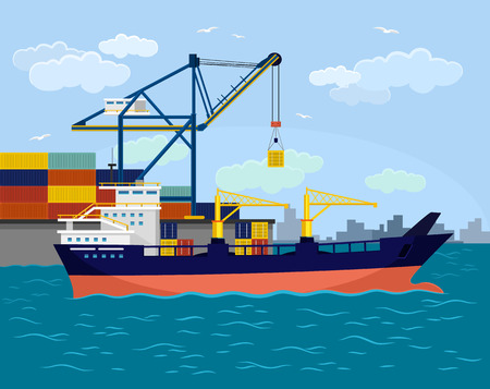 container ship: Vector ship port flat illustration