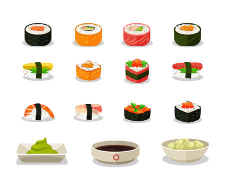 soy sauce: Vector sushi flat icon set
