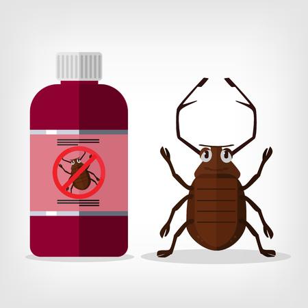 exterminate: Deje de insectos. Vector ilustraci�n plana