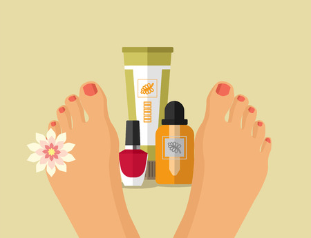 french manicure: Vector spa feet flat illustration