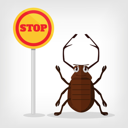 simbols: Stop insects vector flat illustration