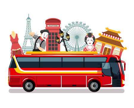 Travel bus vector flat illustration Illustration