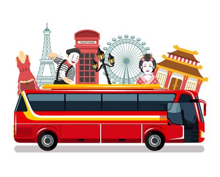 Viagens de ônibus vector ilustração plana Ilustração