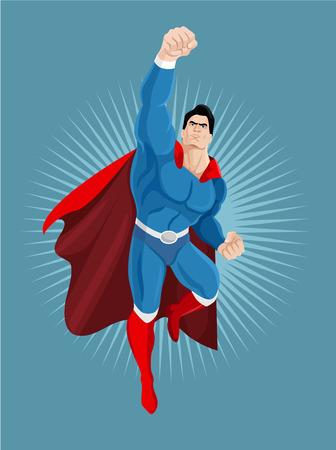 Superhero flies. Vector cartoon illustration