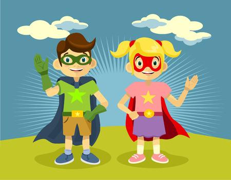 kid vector: Niños superhéroes. Vector ilustración plana Vectores