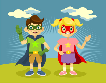 Children superheroes. Vector flat illustration