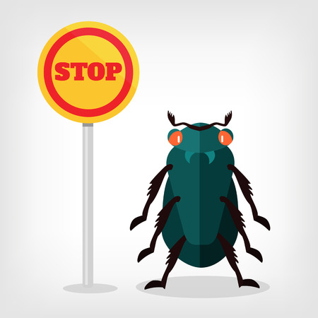 an insect sting: Stop insects vector flat illustration