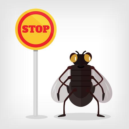 exterminate: Stop fly vector flat illustration Illustration