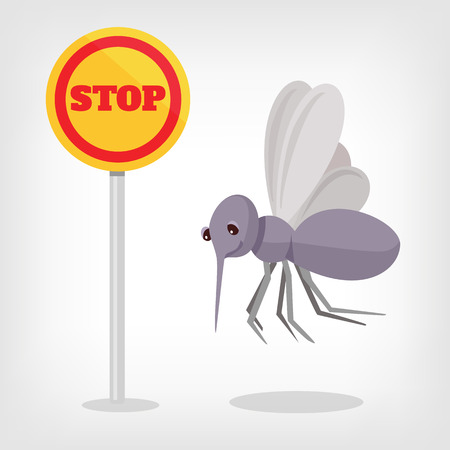stop mosquito: Stop mosquito vector flat illustration Illustration