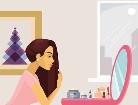 fashion make up: Girl make up. Vector flat illustration