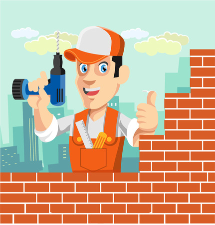 hard stuff: Vector worker flat cartoon illustration