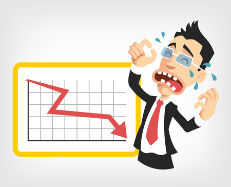 sales manager: Business fail. Graph down vector flat illustration Illustration