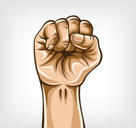 clenched fist: Vector fist cartoon illustration
