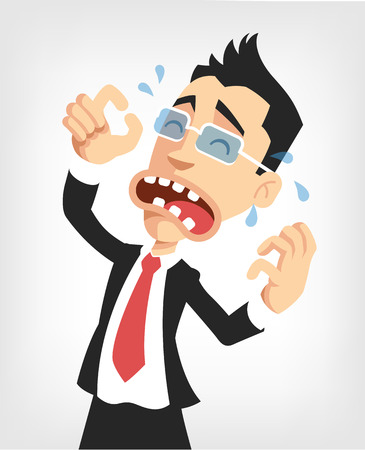worried businessman: Frustrated businessman. Vector flat illustration