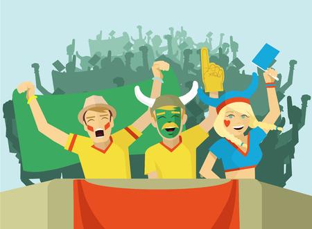 football stadium: Fans vector flat illustration Illustration