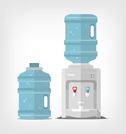 water: Water cooler. Vector flat illustration
