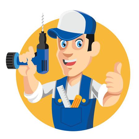 handyman cartoon: Vector worker flat cartoon illustration