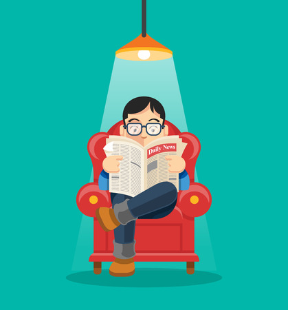 reading lamps: Man is reading newspaper. Vector flat illustration