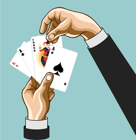 Vector hands wirh game cards. Comic illustration