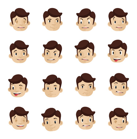 Emotional heads flat icons set Vector