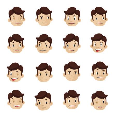 character set: Emotional heads flat icons set Illustration