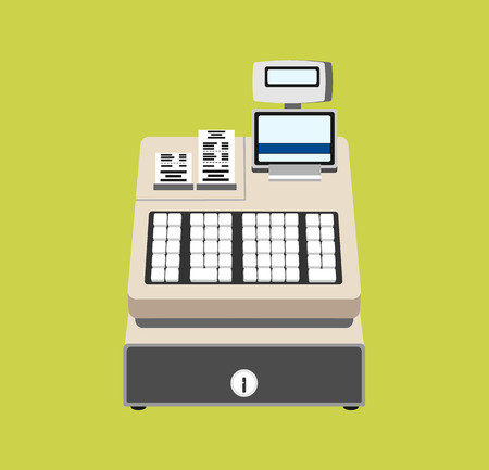 simbols: Cash register vector flat illustration