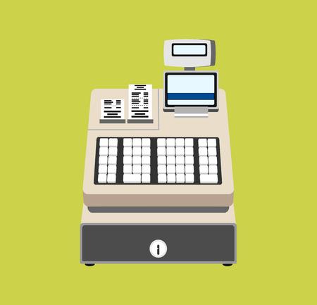 cash icon: Cash register vector flat illustration