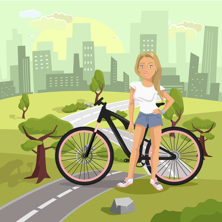 Sunset landscape vector: Landscape with girl and bicycle. Vector flat illustration