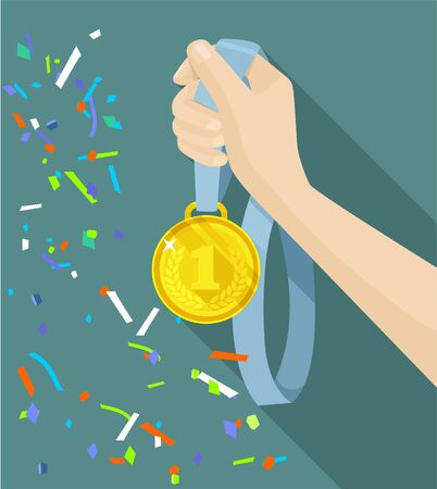 accolade: Golden medal in hand. Vector flat illustration
