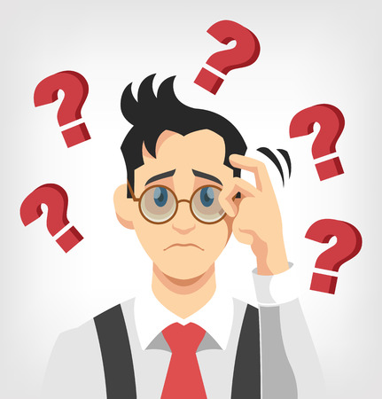 questions: Thinking man. Vector flat illustration