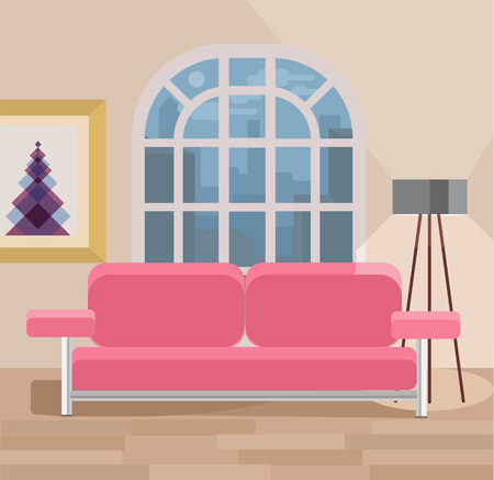 living room design: Living room vector flat illustration