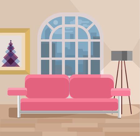 Wohnzimmer vector illustration Flach Standard-Bild - 41256099