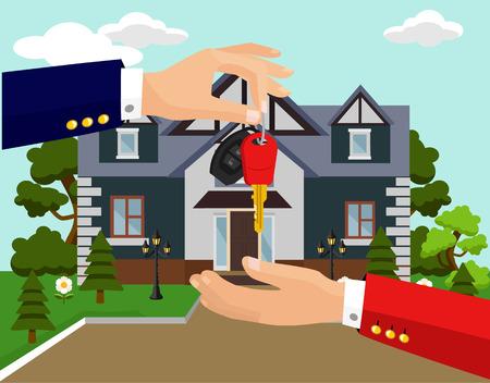 land owner: Vector sale house flat illustration