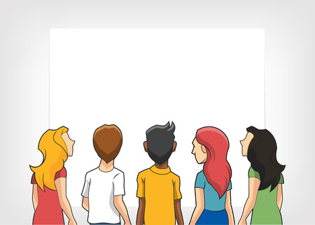 People watching. Vector flat illustration Vector