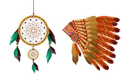 indian tribal headdress: Indian items vector flat set
