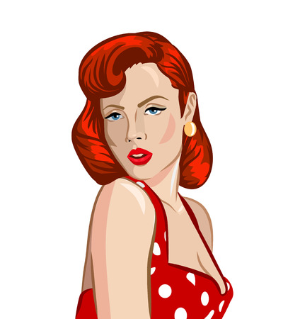 Pin up ginger woman vector illustration  イラスト・ベクター素材