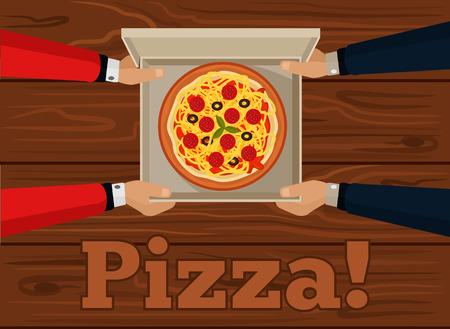 pizza box: Vector ilustración de pizza plana