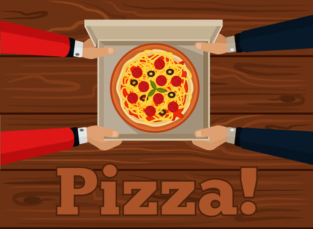 italian pizza: Vector pizza flat illustration Illustration