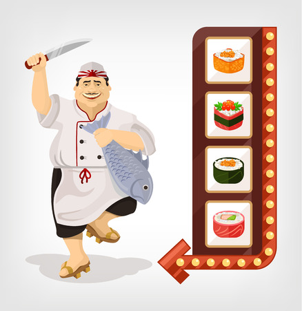 simbols: Japanese chef with sushi banner. Vector flat illustration