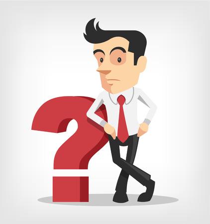confundido: Hombre de negocios con signo de interrogación. Vector ilustración plana