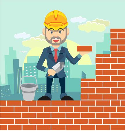hard stuff: Worker flat cartoon vector illustration Illustration