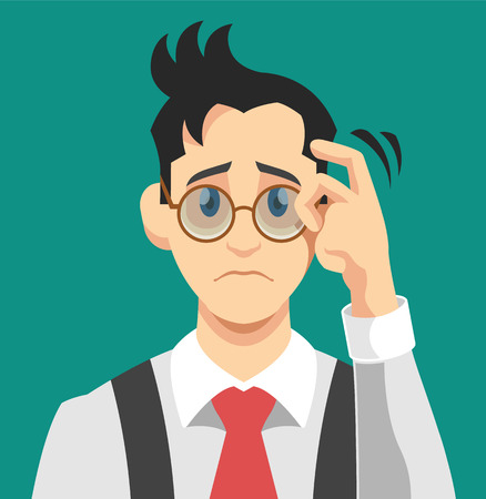 is upset: Sad man. Vector flat illustration