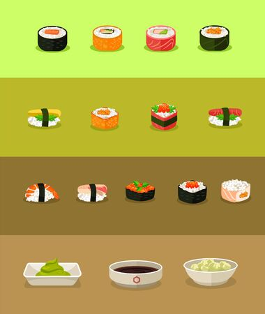 traditionally: Vector sushi flat icon set