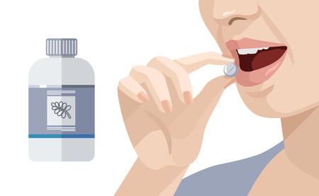 ragazza malata: La donna prende una pillola. Vector piatta illustrazione Vettoriali