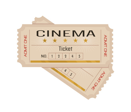 old movie: Vector flat cinema tickets illustration